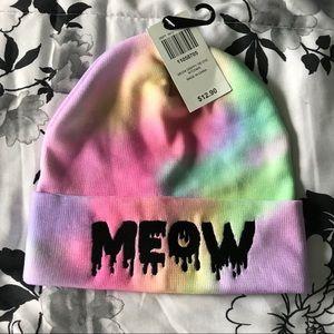 "Pastel Rainbow Tie Dye Black ""Meow"" Winter Hat"